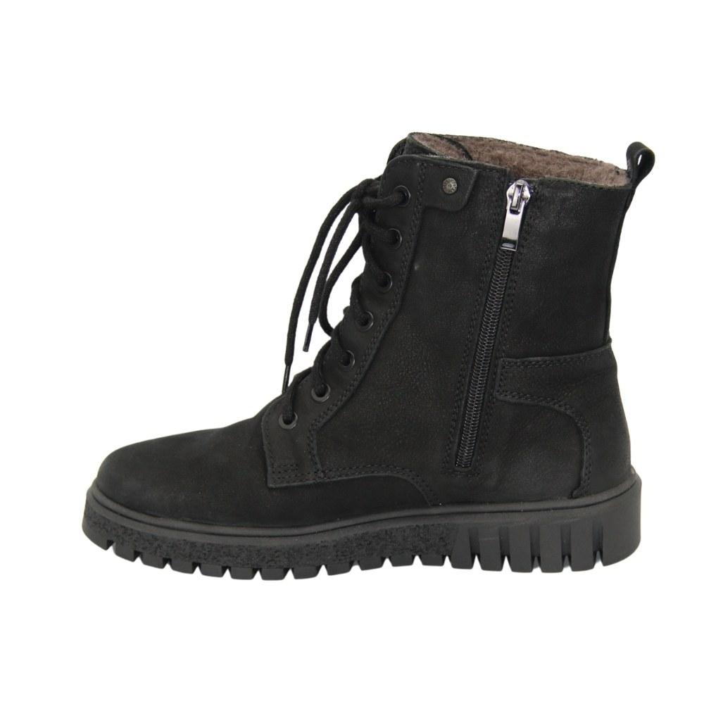Женские черные ботинки на низком ходу со шнуровкой и змейкой зимние NEXT SHOES (Польша) Натуральный нубук, арт 251-6588-7-1039 модель 4636