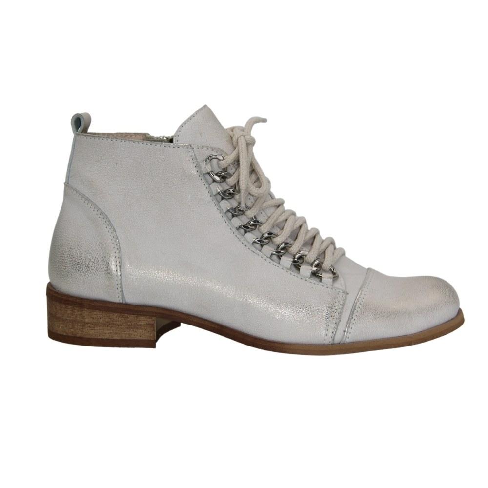 Женские белые ботинки на низком ходу со шнуровкой и змейкой демисезонные NEXT SHOES (Польша) Натуральная кожа, арт 1637-zlonty модель 4651