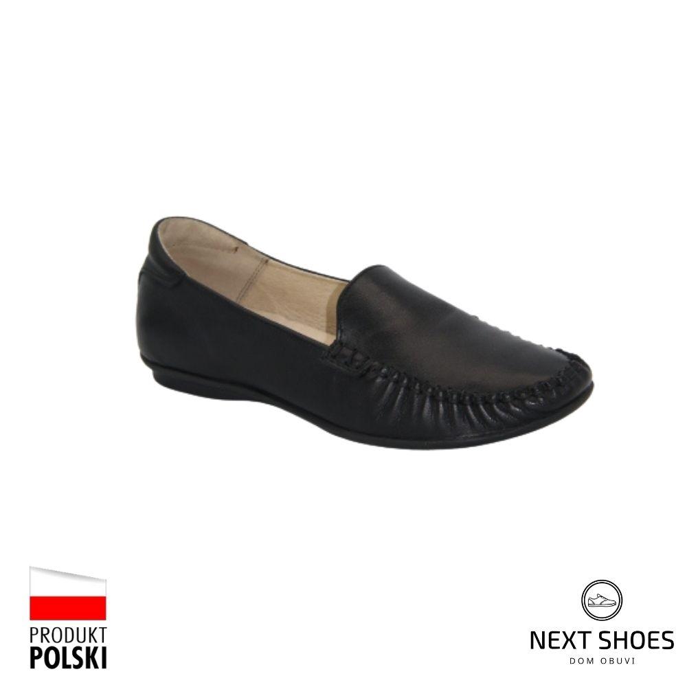 Мокасины женские черные NEXT SHOES (Польша) летние арт 058-3692-1-1036 модель 4658