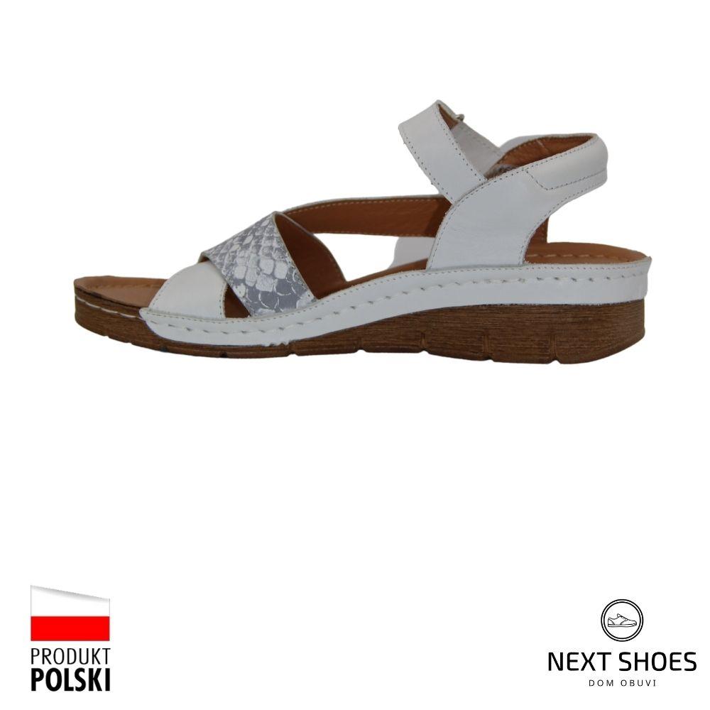 Босоножки на низкой платформе женские белые NEXT SHOES (Польша) летние арт k176-09-218 модель 4663