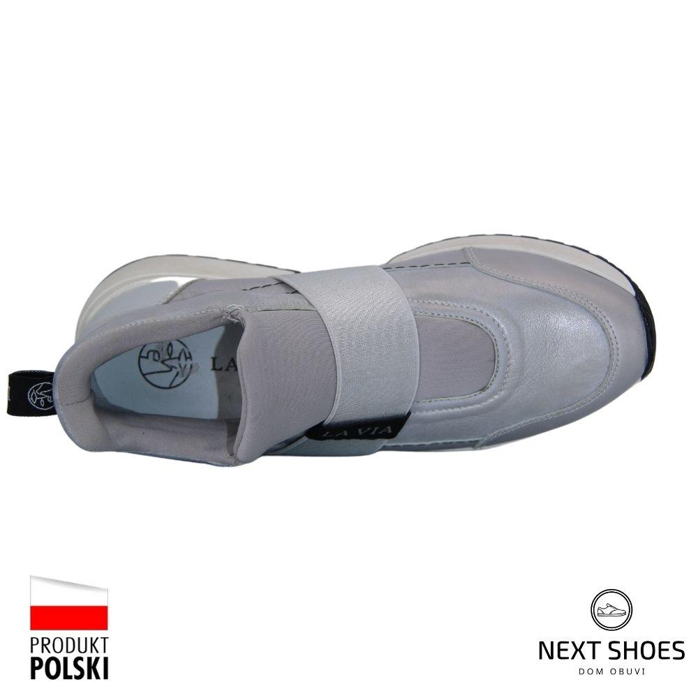 Кроссовки женские серые NEXT SHOES (Польша) демисезонные арт  модель 4666