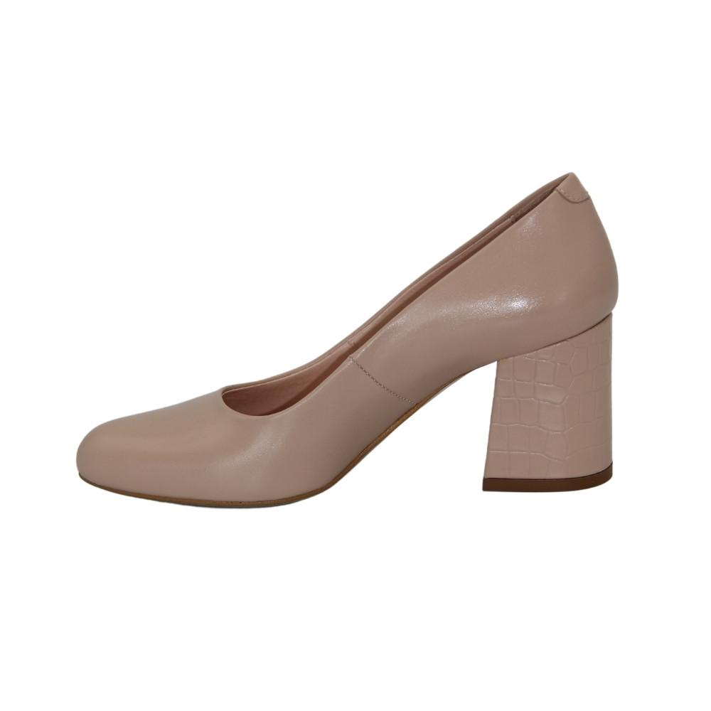 Women's beige mid-heeled pumps, demi-season NEXT SHOES (Poland) Genuine leather, art 7002707-001 model 4672