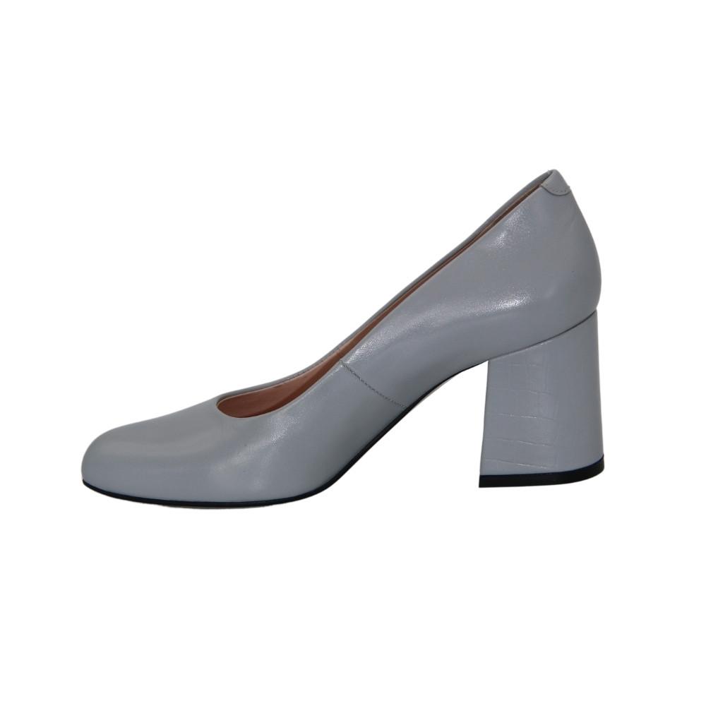 Женские серые туфли-лодочки на среднем каблуке демисезонные NEXT SHOES (Польша) Натуральная кожа, арт 7002707-001 модель 4676