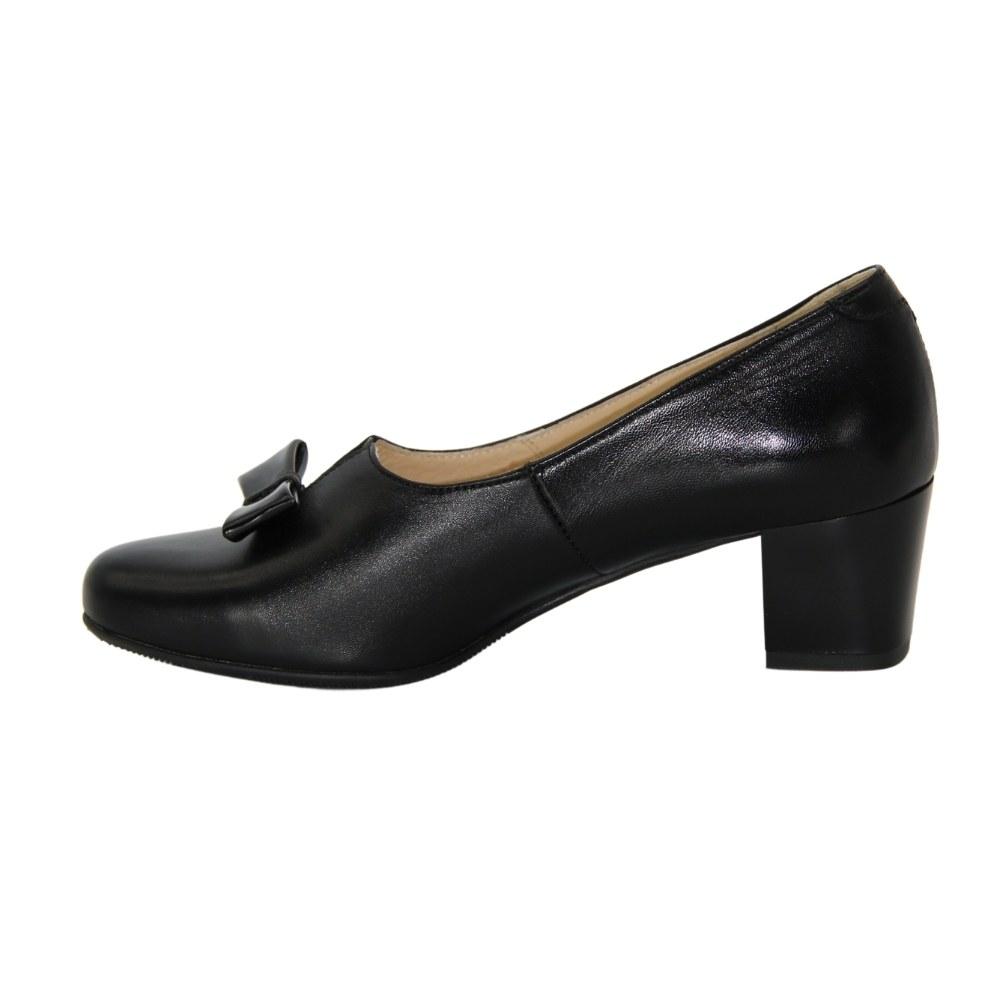 Женские черные туфли с бантом на низком каблуке демисезонные NEXT SHOES (Польша) Натуральная кожа, арт 2270-4512 модель 4682