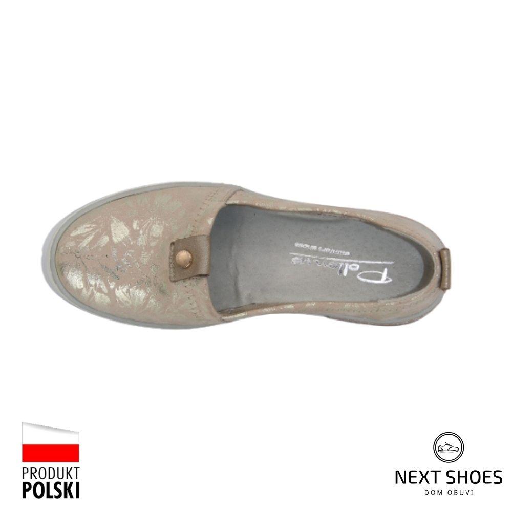Кеды женские бежевые NEXT SHOES (Польша) летние арт 5-1143-007 модель 4688