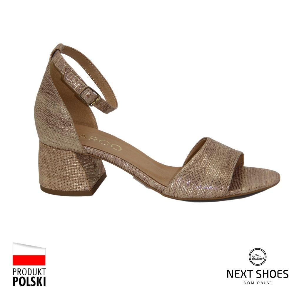 Босоножки на среднем каблуке женские золотистые NEXT SHOES (Польша) летние арт 1530p-803-p-1 модель 4728