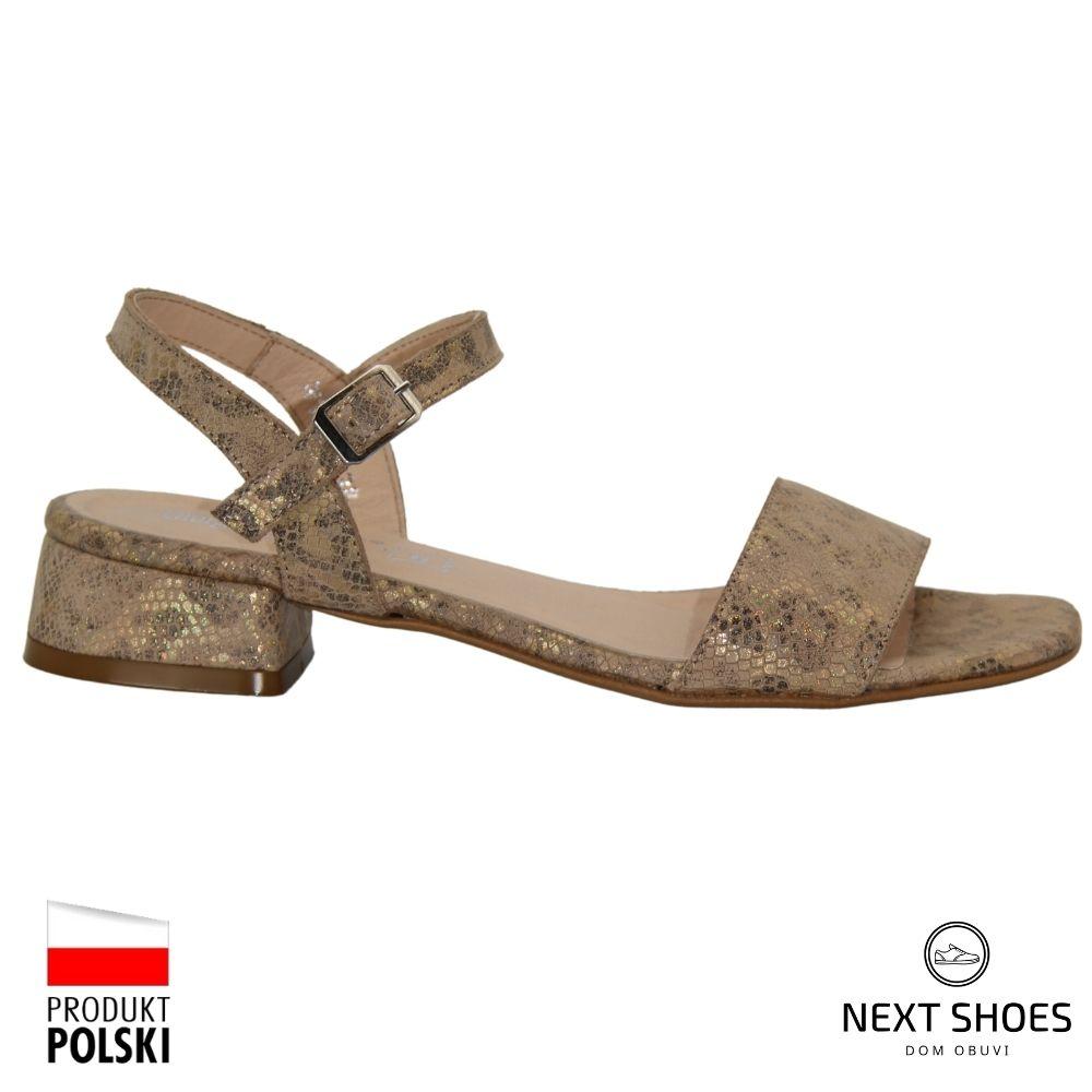 Low-heeled sandals female gold NEXT SHOES (Poland) summer art 1197-bez-cat model 4733