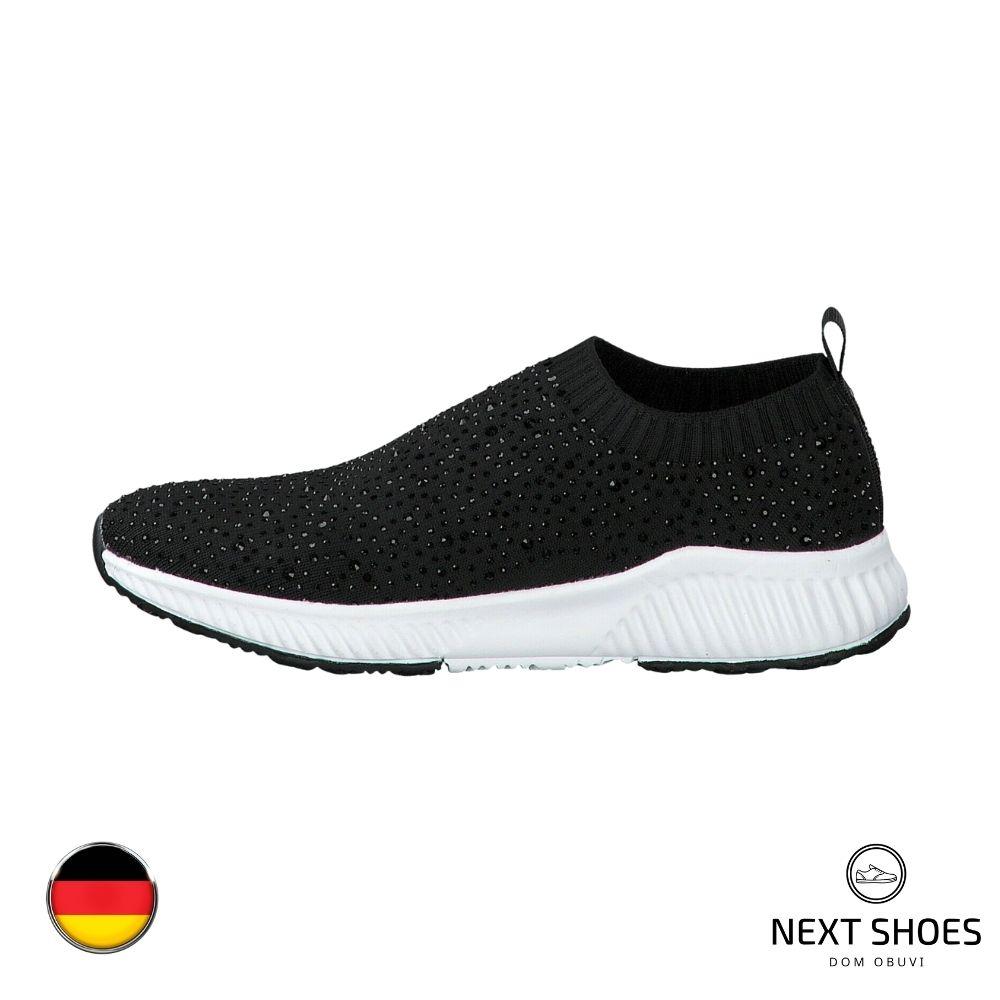 Women's black slip-ons NEXT SHOES (Germany) summer art 5-5-24602-24 001 BLACK model 4741