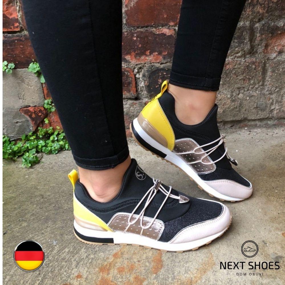 Кроссовки женские черные с желтыми вставками NEXT SHOES (Германия) летние арт 5-23613-24-098 модель 4746