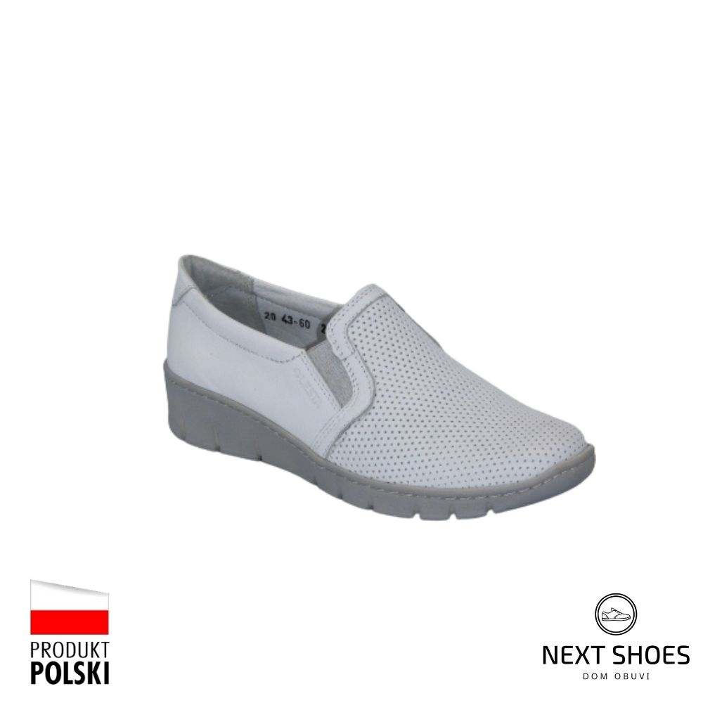 Women's moccasins white NEXT SHOES (Poland) summer art 261-4360-1-00 model 4749