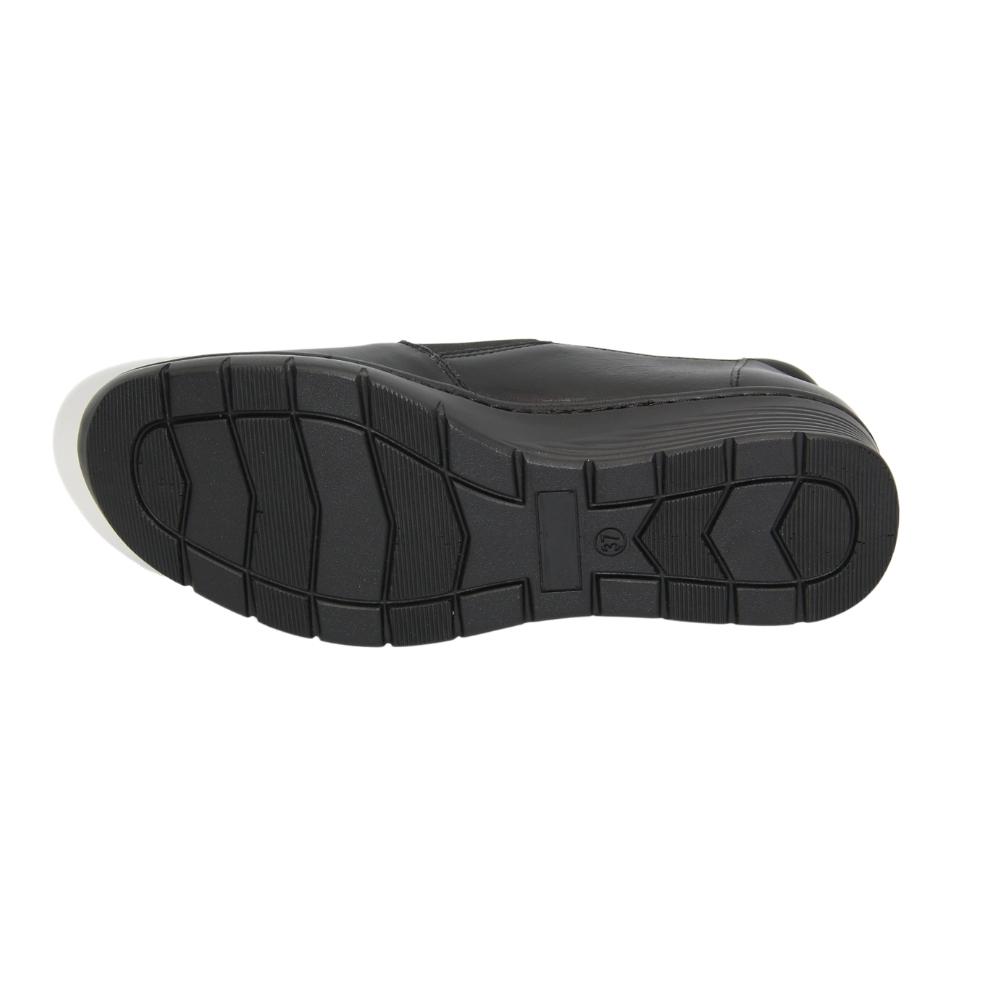 Женские черные туфли комфорт на резинке демисезонные NEXT SHOES (Польша) Натуральная кожа, арт 0576-czarny модель 4758