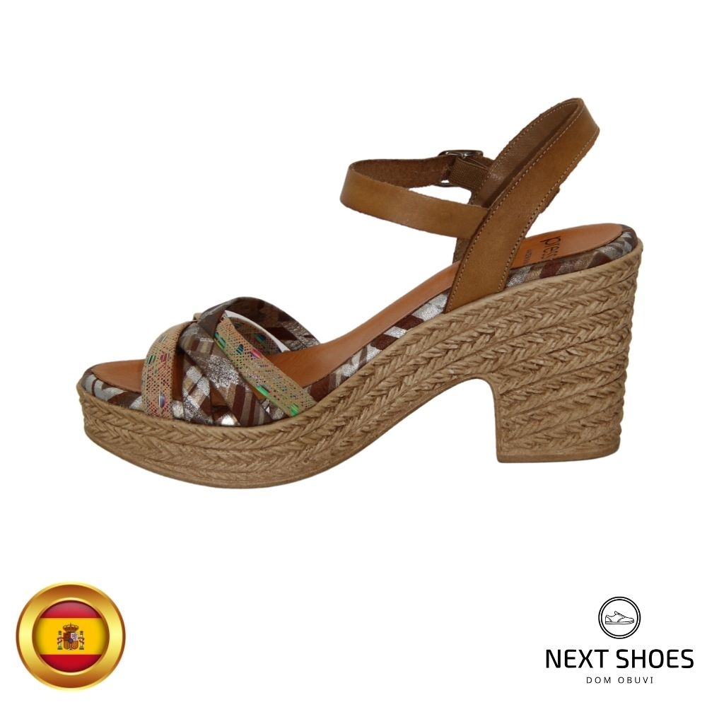 Sandals with medium heels female multicolored NEXT SHOES (Spain) summer art 2-2982-tierra-cambig model 4760