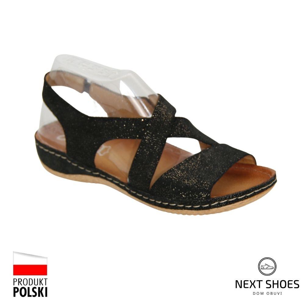 Sandals on a low platform female black NEXT SHOES (Poland) summer art 449s-czar-well model 4762
