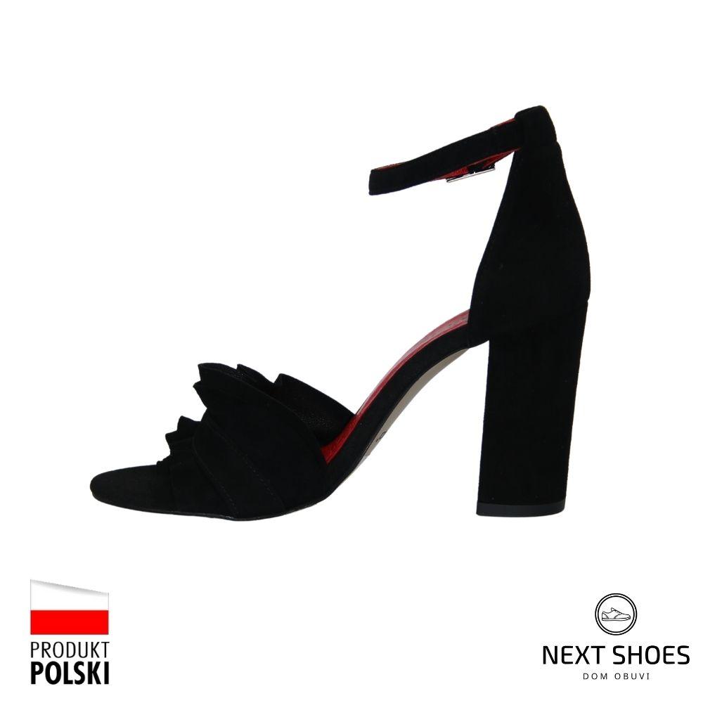 Босоножки на среднем каблуке женские черные NEXT SHOES (Польша) летние арт 2889-003 модель 4763