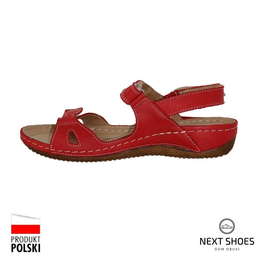Босоножки на низкой платформе женские красные NEXT SHOES (Польша) летние арт 205-czarwony модель 4780