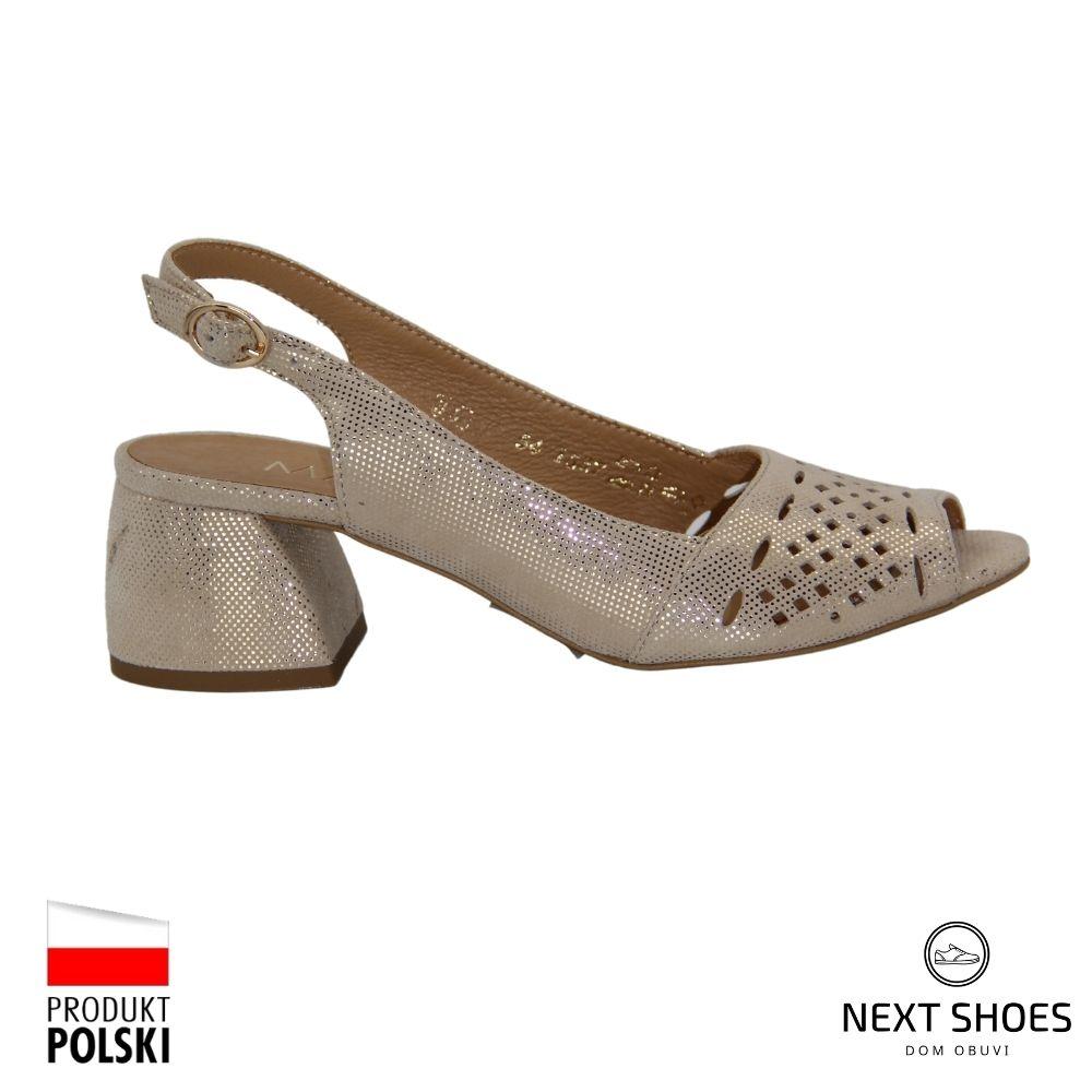 Sandals with medium heels female beige NEXT SHOES (Poland) summer art 1537p-787-p-1 model 4781