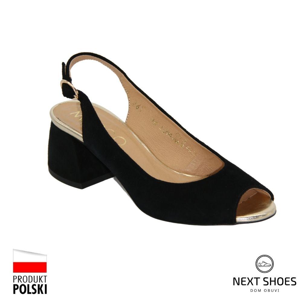 Sandals with medium heels female black NEXT SHOES (Poland) summer art 1506p-041-910-p1 model 4782