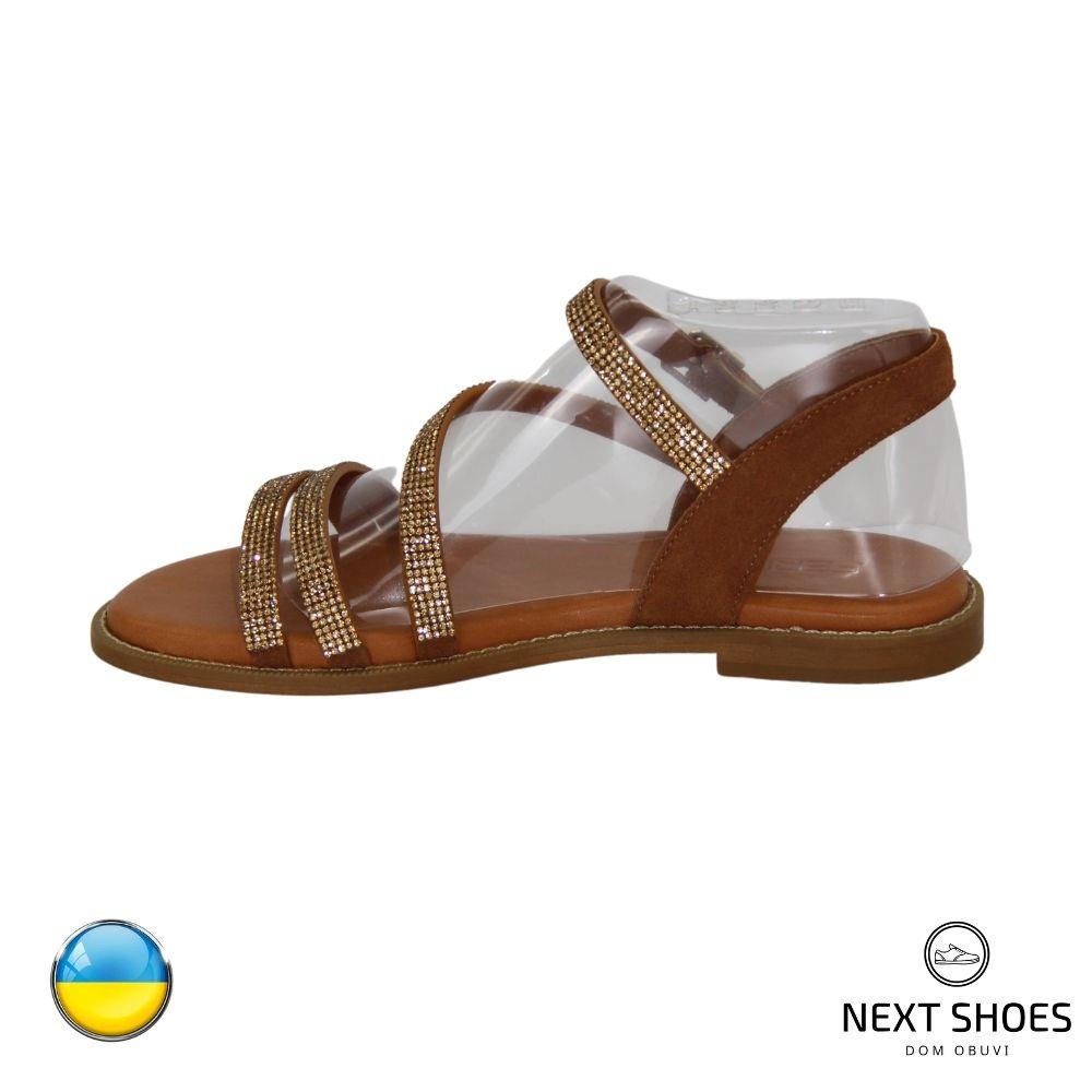 Босоножки на низком каблуке женские коричневые NEXT SHOES (Украина) летние арт 1037-506-fox-s07 модель 4796