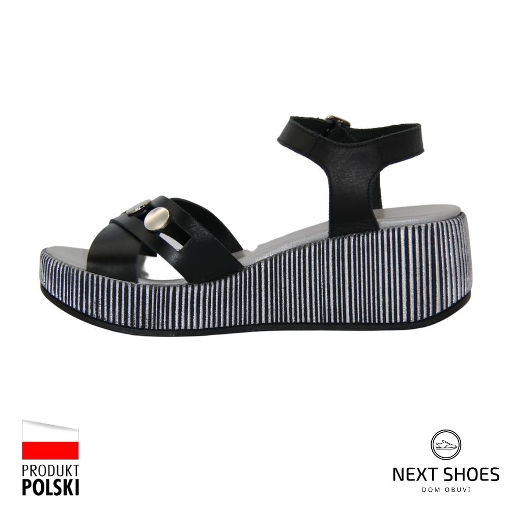 Sandals on a high platform female black NEXT SHOES (Poland) summer art 4311-2-2058 model 4797