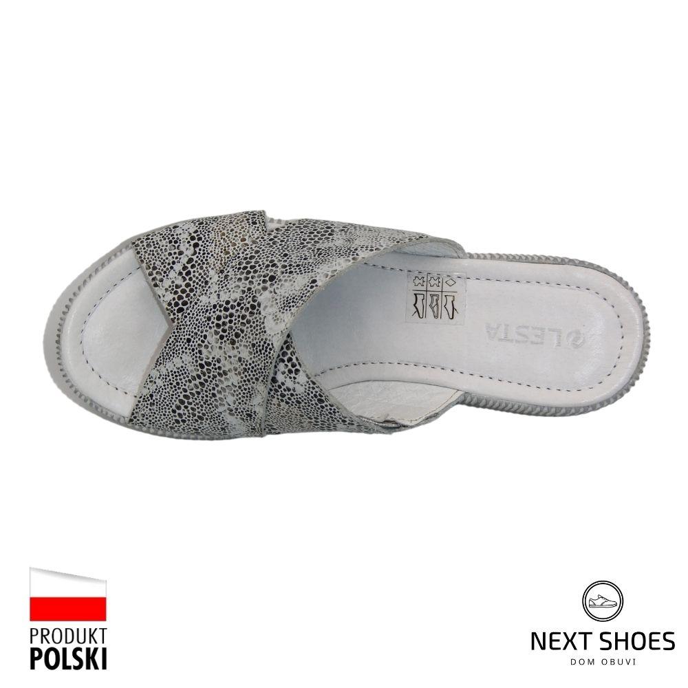 Slippers female white NEXT SHOES (Poland) summer art 261-1273-1-2619 model 4801