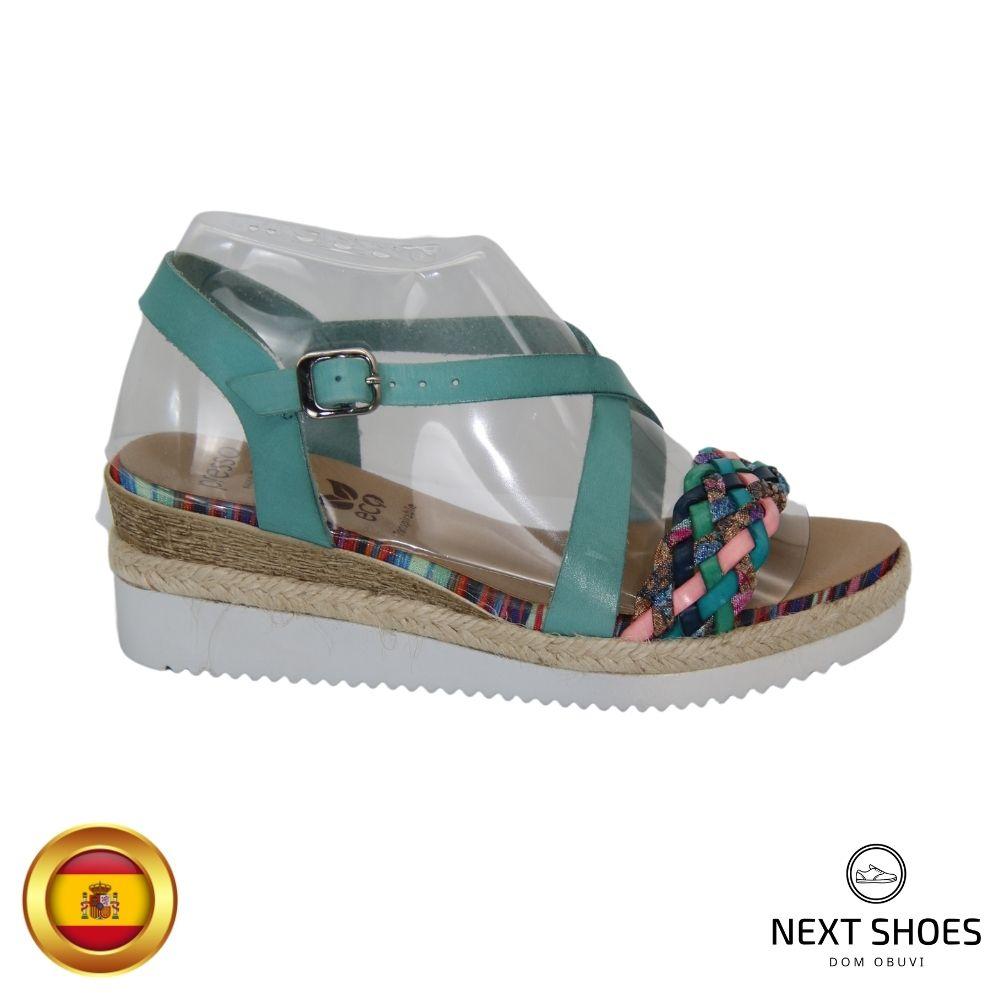 Sandals on a low platform women's turquoise NEXT SHOES (Spain) summer art 10-82946 model 4803