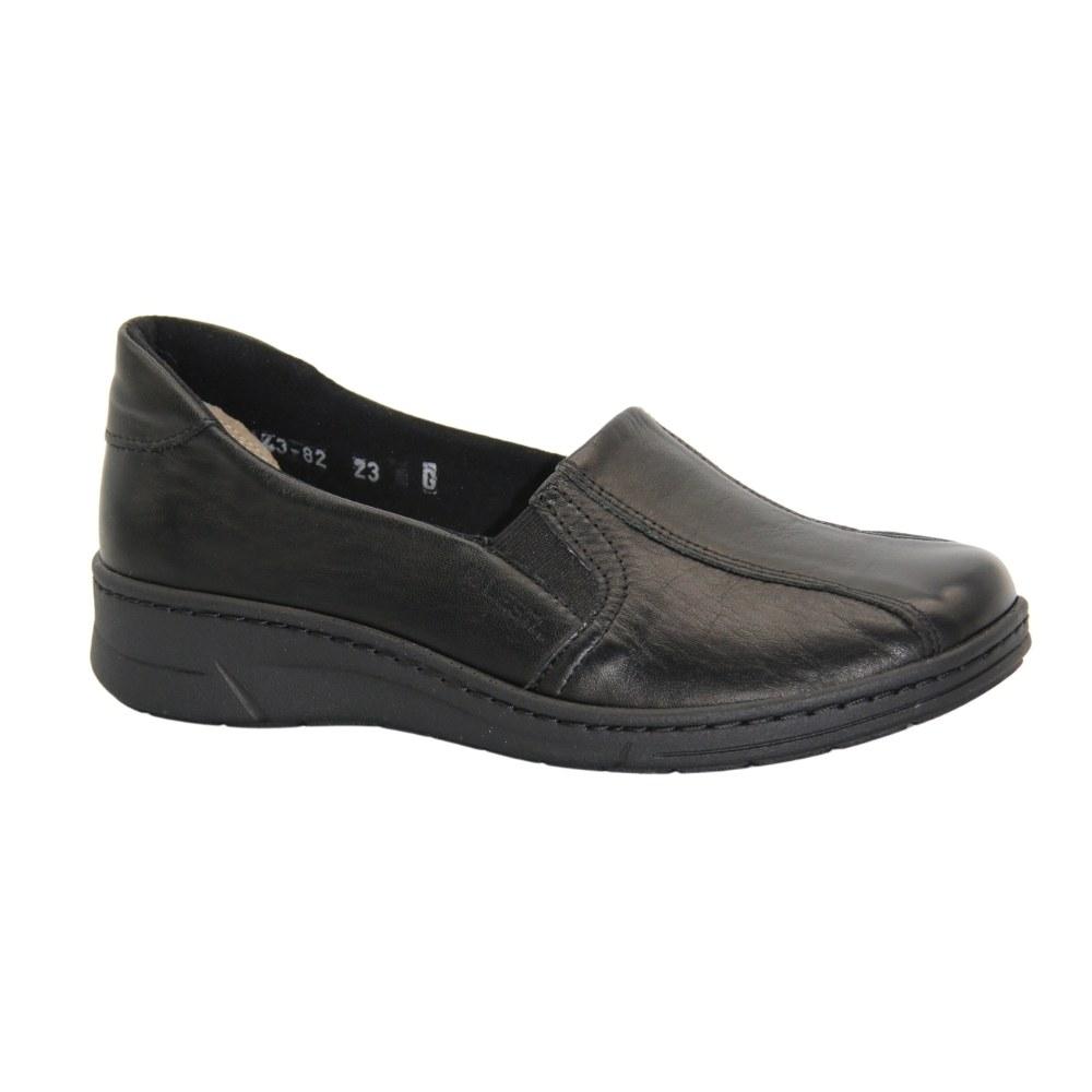 Женские черные туфли кофторт на резинке демисезонные NEXT SHOES (Польша) Натуральная кожа, арт 271-4382-4-1013 модель 4818