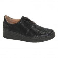 Женские черные туфли комфорт на шнурке демисезонные (Польша) модель 4831