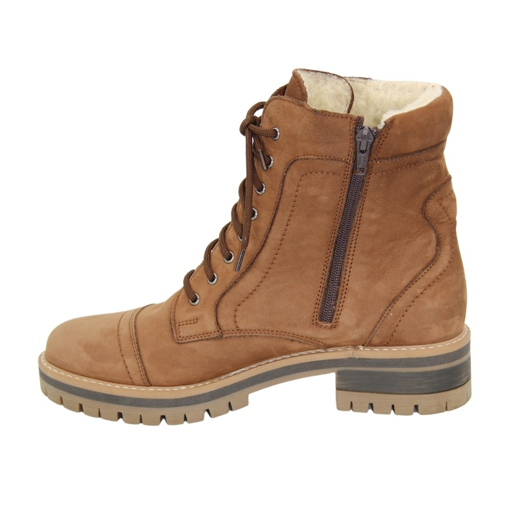 Women's beige boots at a low pace with lacing and a snake winter NEXT SHOES (Poland) Natural suede, art 546 model 4832