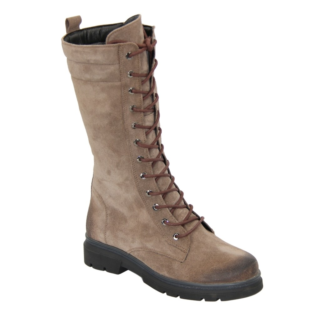 Women's beige boots on a platform with lacing and a snake winter NEXT SHOES (Poland) Natural nubuck, art z402-138-354-349 model 4838