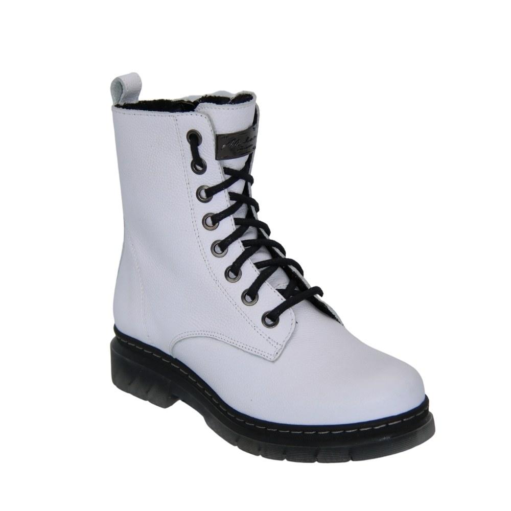 Женские белые ботинки на низком ходу со шнуровкой и змейкой зимние NEXT SHOES (Польша) Натуральная кожа, арт 542 модель 4841
