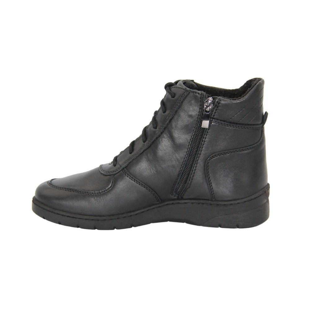 Women's black boots on a low run with lacing and a snake winter NEXT SHOES (Poland) Genuine leather, art 251-6600-6-1036 model 4843-4629