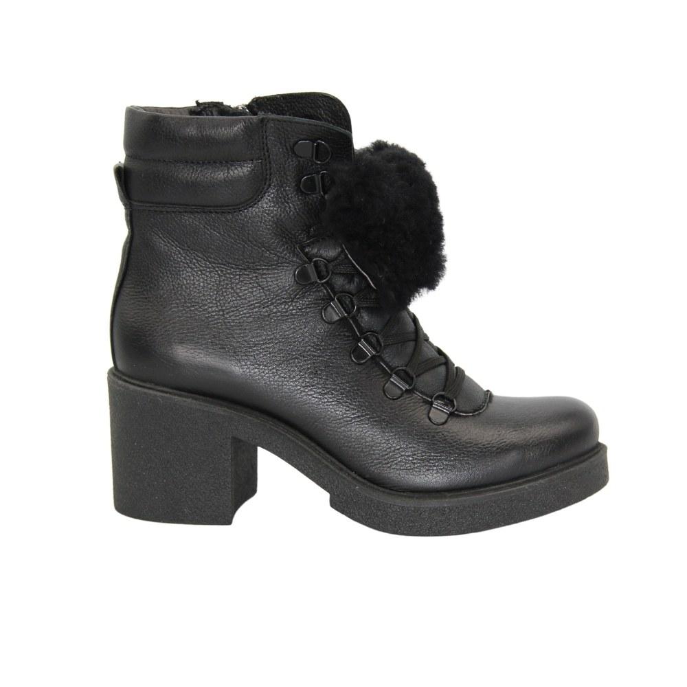 Женские черные ботинки на среднем каблуке со шнуровкой и змейкой зимние NEXT SHOES (Польша) Натуральная кожа, арт 3151 модель 4846