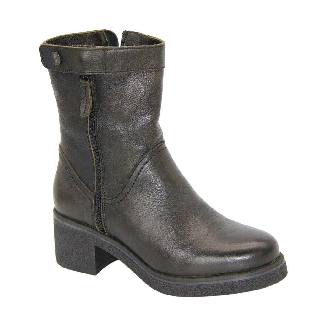 Женские зеленые ботинки на низком каблуке со змейкой зимние NEXT SHOES (Польша) Натуральная кожа, арт 3145 модель 4848