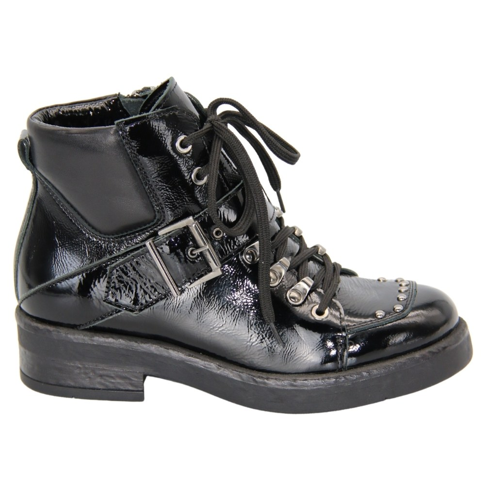 Women's black boots on a low wedge heel with a snake and lacing demi-season NEXT SHOES (Poland) Genuine leather, art 1832 model 4849