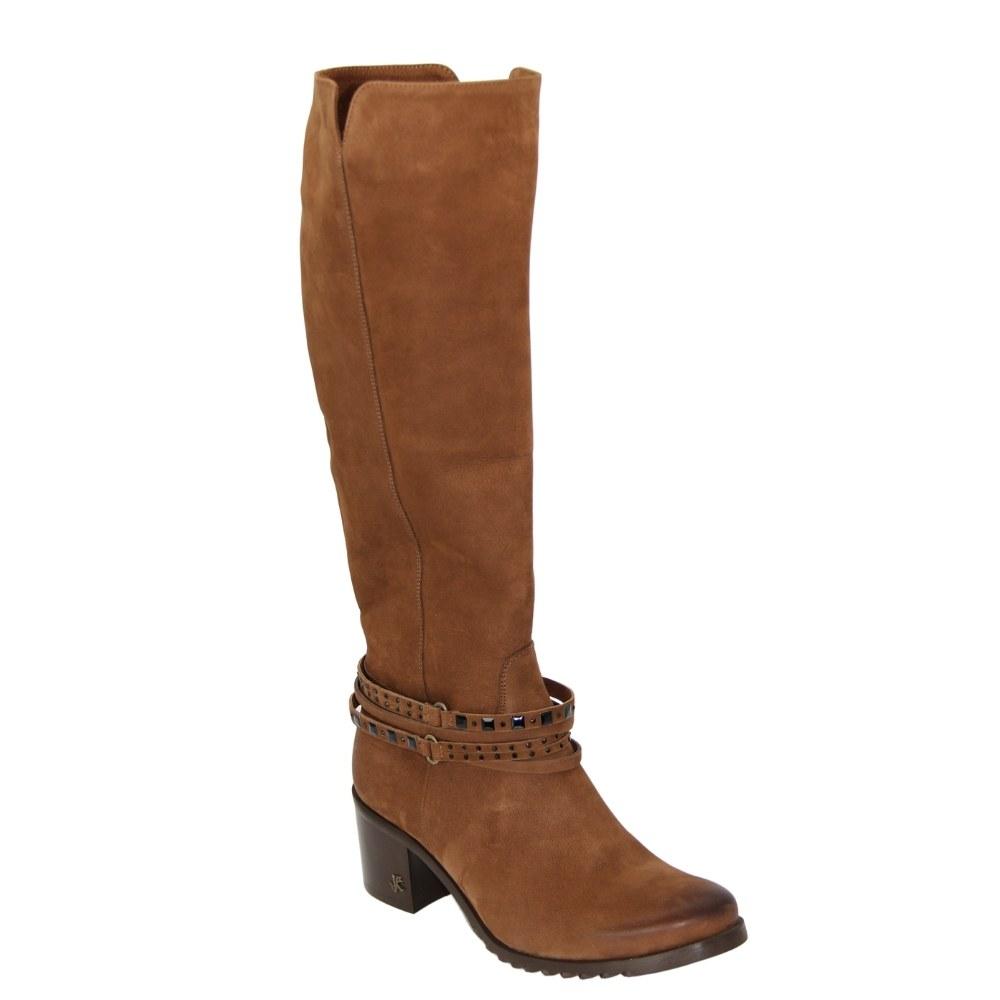 Женские коричневые сапоги демисезонные NEXT SHOES (Польша) Натуральный нубук, арт 2076 модель 4858