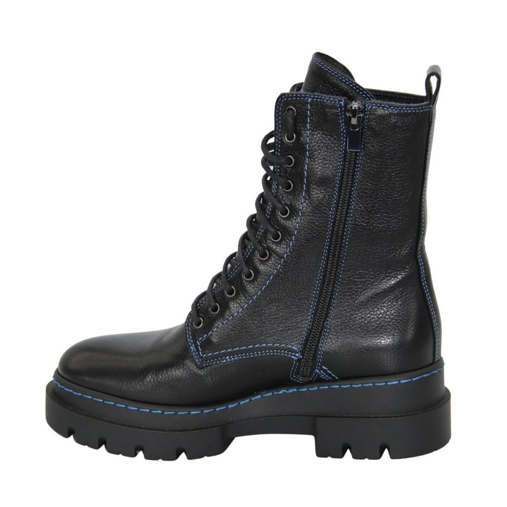 Женские черные ботинки на шнуровке и змейке зимние NEXT SHOES (Польша) Натуральная кожа, арт 2700964-343 модель 4860