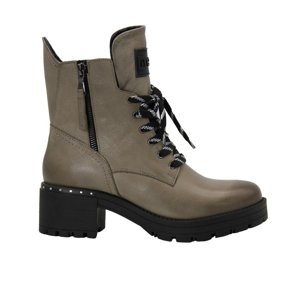 Женские серые ботинки на низком ходу со змейкой и шнуровкой демисезонные NEXT SHOES (Польша) Натуральный нубук, арт 20758 модель 4864