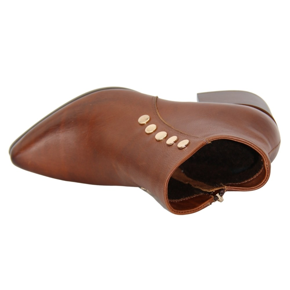 Женские коричневые ботинки на среднем каблуке со змейкой демисезонные NEXT SHOES (Польша) Натуральная кожа, арт 1235 модель 4874