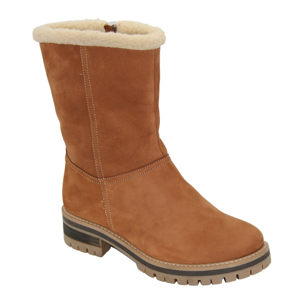 Women's beige boots at low speed with a snake winter NEXT SHOES (Poland) Genuine leather, art 4075 model 4875