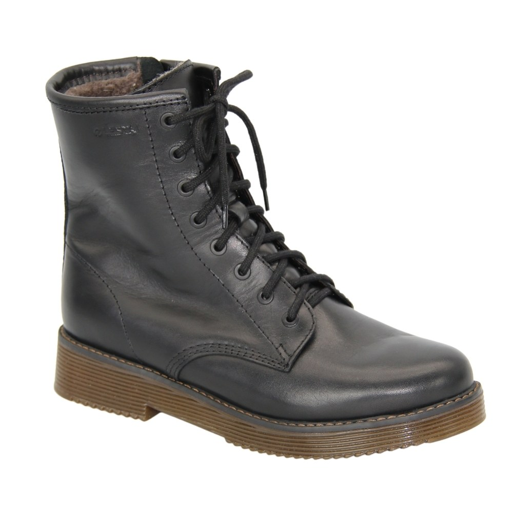 Women's black boots on a low run with lacing and a snake winter NEXT SHOES (Poland) Genuine leather, art 251-6606-7-1058 model 4879