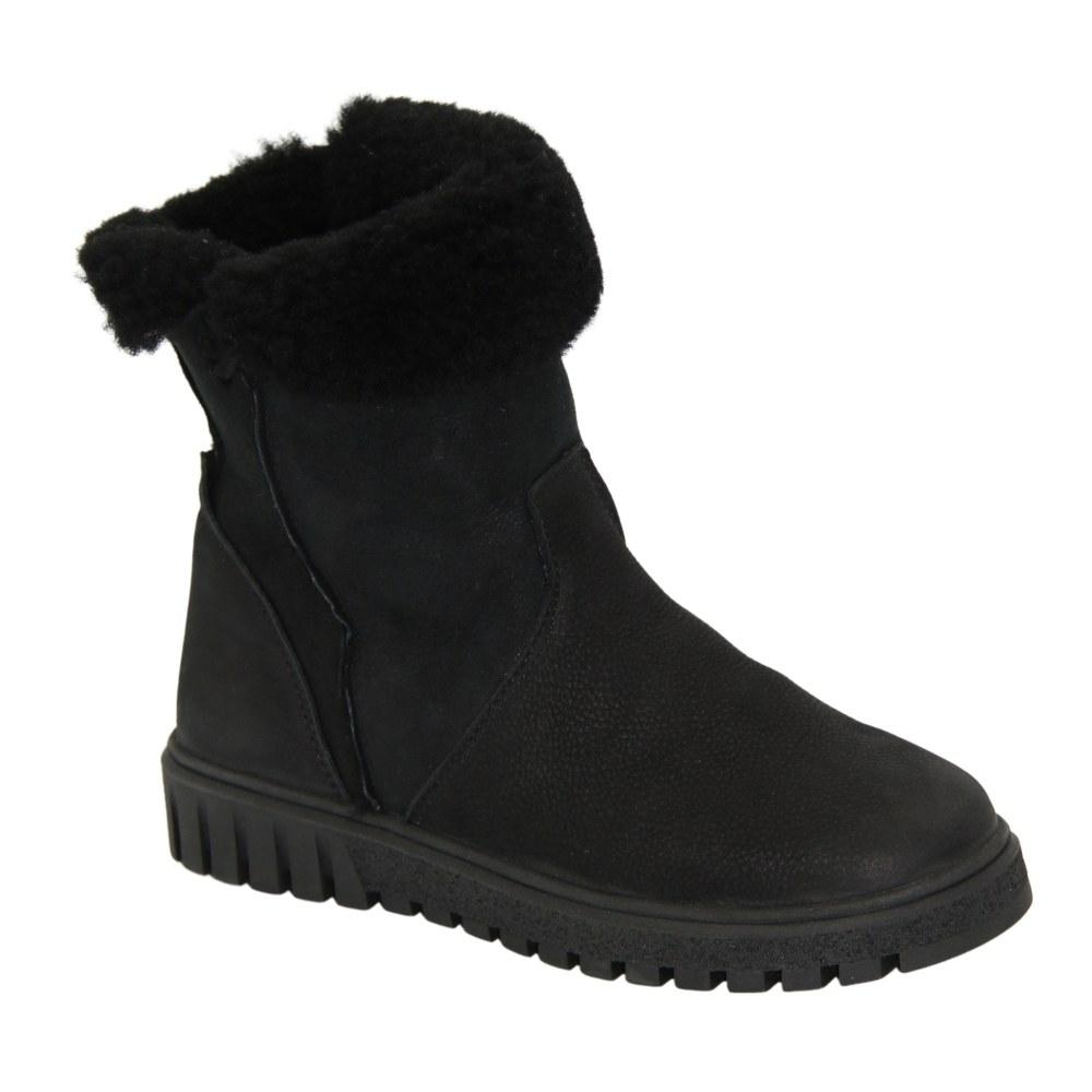 Женские черные ботинки унты зимние NEXT SHOES (Польша) Натуральный нубук, арт 6590-7-103910134 модель 4881-4586