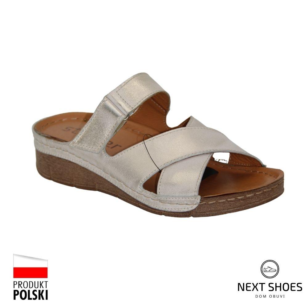 Slippers female silver NEXT SHOES (Poland) summer art 178-pn86-0-91011 model 4920