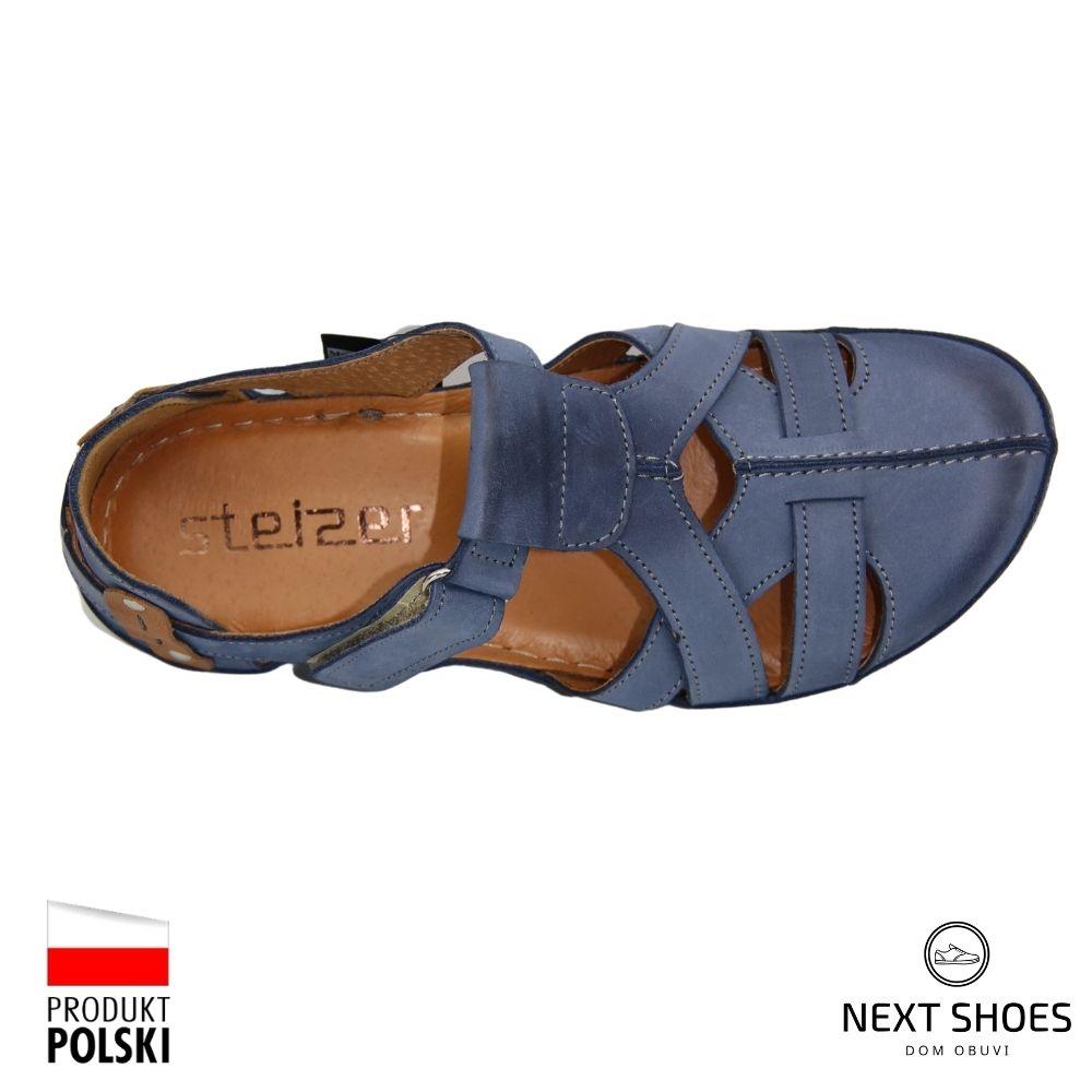 Босоножки на низкой платформе женские синие NEXT SHOES (Польша) летние арт 74-blue-wosk модель 4922