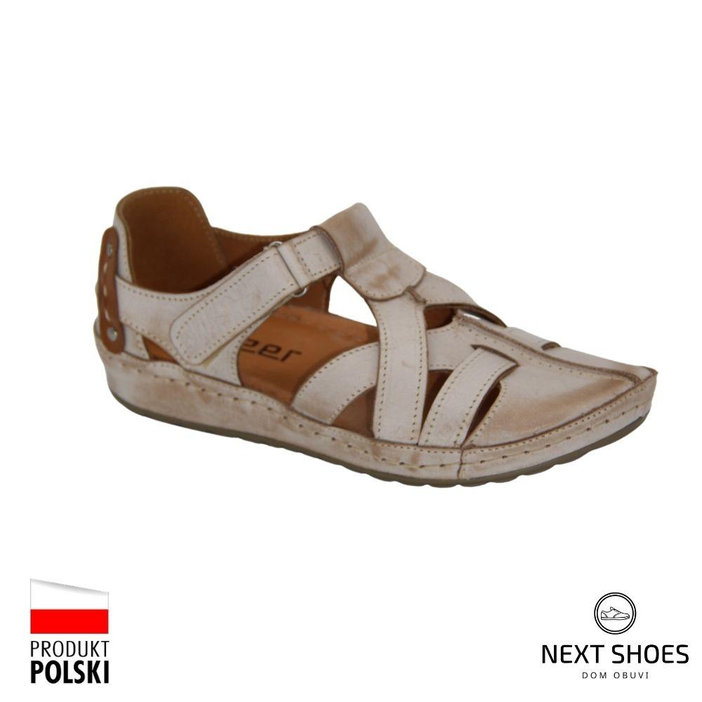 Sandals on a low platform female beige NEXT SHOES (Poland) summer art 74-221-cap model 4923