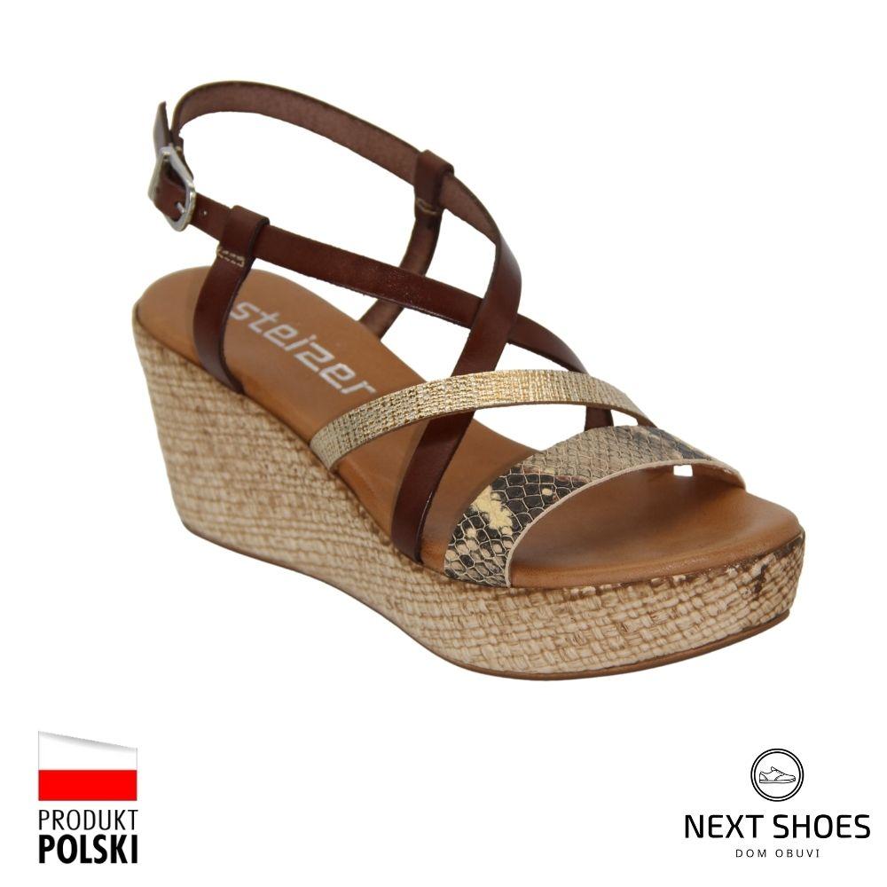 Sandals on a high platform female gold NEXT SHOES (Poland) summer art h2308-f-piton-kendal model 4924