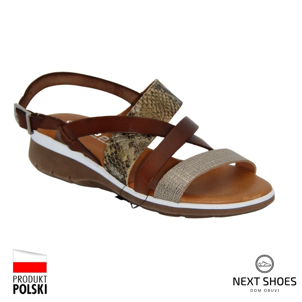 Sandals on a low platform female brown NEXT SHOES (Poland) summer art 2272-f model 4925