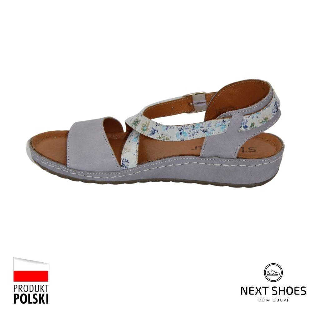 Sandals on a low platform female gray NEXT SHOES (Poland) summer art k88-437-474 model 4926