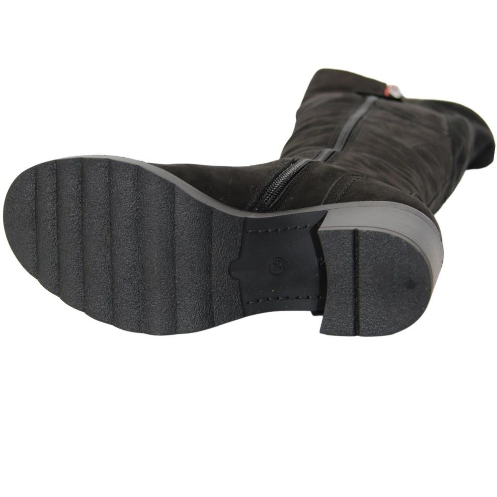 Женские черные сапоги ботфорты на среднем каблуке с натуральной шерстью зимние NEXT SHOES (Польша) Верх-натуральный нубук, арт 2020A-504 модель 5070
