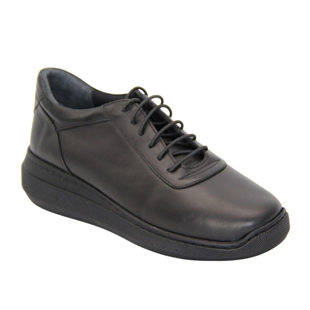 Женские черные туфли комфорт со шнурком на платформе демисезонные NEXT SHOES (Турция) Натуральная кожа, арт 255-2021-164-641 модель 5073