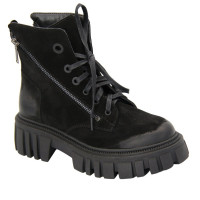 Women's black boots with laces and two snakes, tractor sole demi-season (Turkey) model 5074